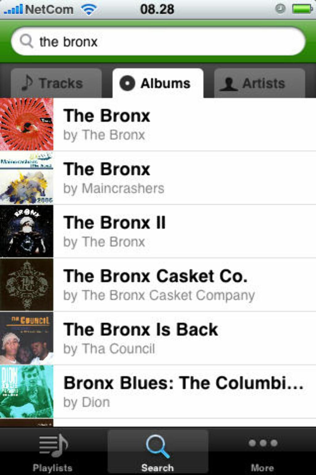 ALBUMOVERSIKT: Når du søker på en artist, lister den opp alle album, e.p.-er og singler med små coverbilder.