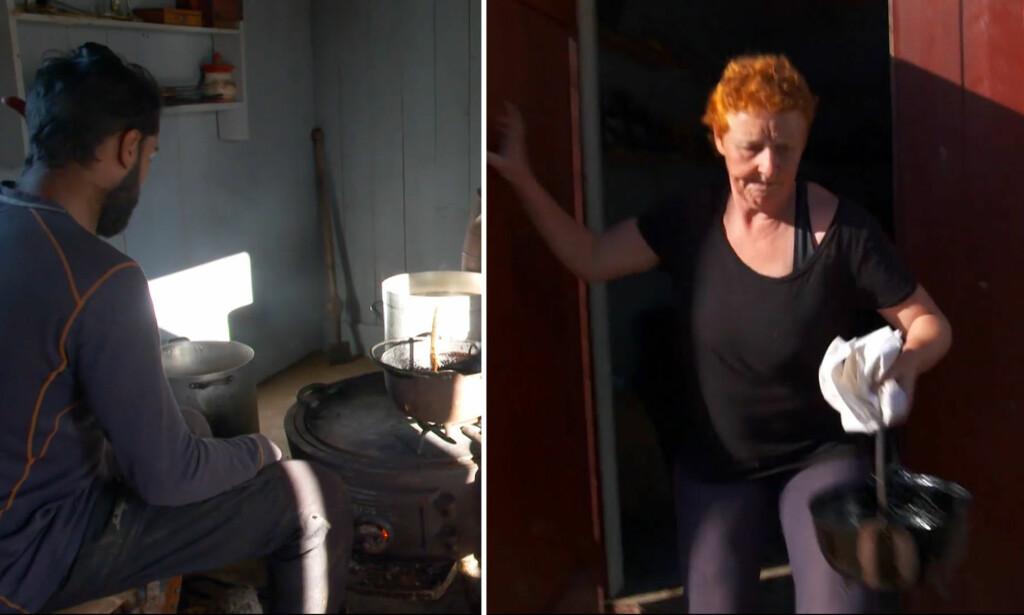 OPPFATTA IKKE DRAMATIKKEN: I onsdagens episode av «Farmen» trår Laila Lochert (t.h.) til for å redde bakstehuset fra å ta fyr. Det virker som om det er Ali Ahmads ubetenksomhet med tjæregryta som setter huset i fare. Men selv kjenner han seg ikke helt igjen i framstillinga. Foto: TV 2