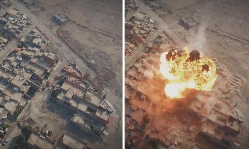 BILBOMBEANGREP: I en ny propagandavideo IS har publisert, legger de særlig vekt på å vise fram bilbombeangrepene sine. Videoene av angrepene er filmet med drone. På bildet til venstre ser man støvskyen etter en større bil som kjører opp mot to andre kjøretøy irakiske styrker bruker. På bildet til høyre, ett sekund senere, eksploderer det.