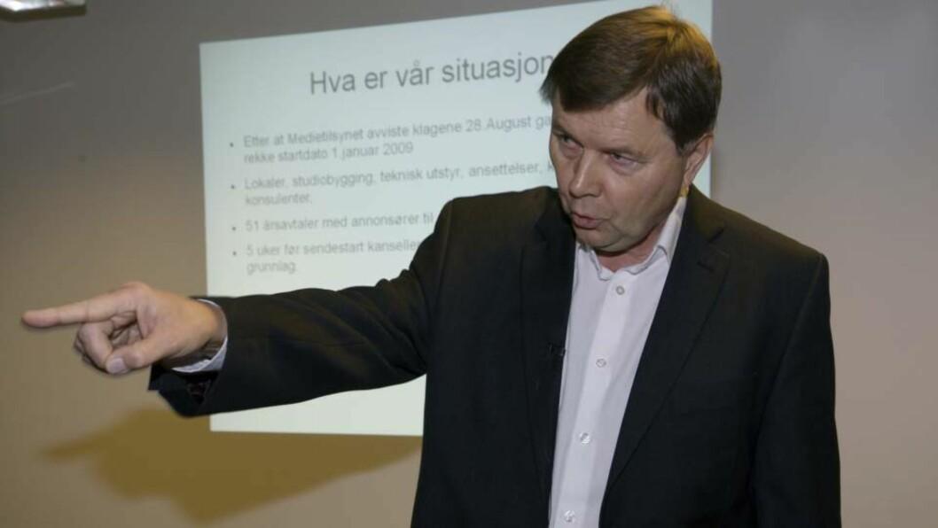 <strong>FÅR SENDE:</strong> Svein Larsen, direktør i Radio Metro, trenger ikke gå til namsretten for å få sende radio fra nyttår. Nå har Radio Metro fått midlertidig konsesjon. Foto: Morten Holm / SCANPIX