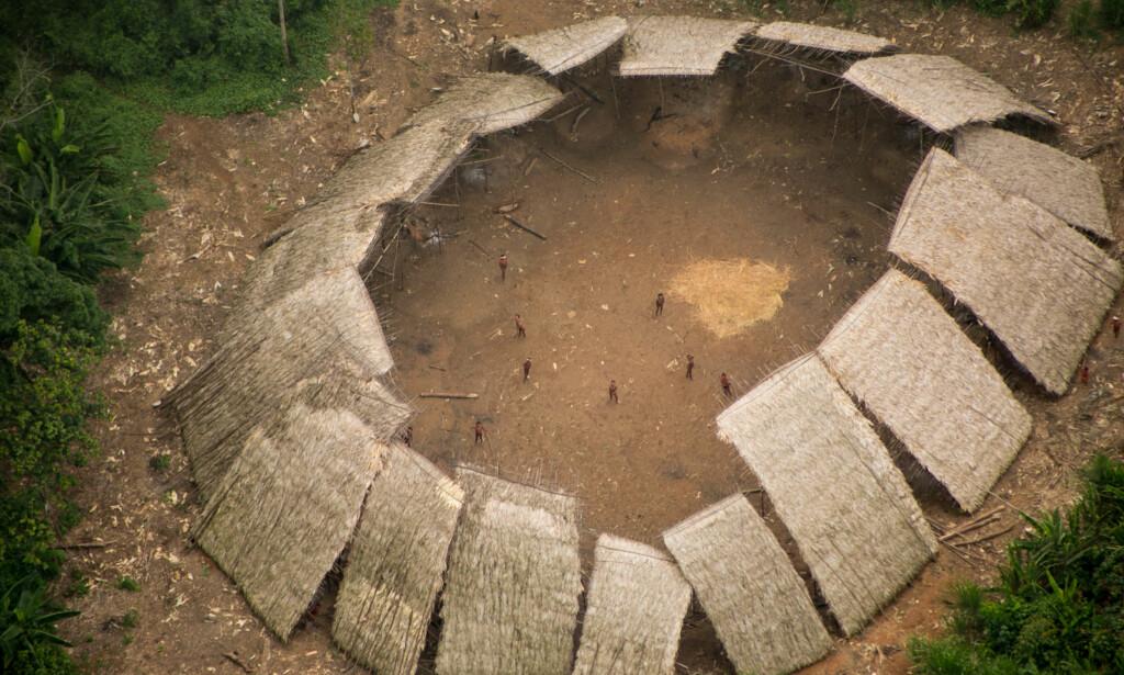 ISOLERT URFOLK: Moxihatetema-indianerne, en del av Yanomami-urfolket i Brasil, har ikke blitt hørt eller sett på over et år. Dette bildet, tatt nylig, er den første kontakten de har hatt med omverdenen siden det ble stille. Foto: Guilherme Gnipper Trevisan / Hutukara