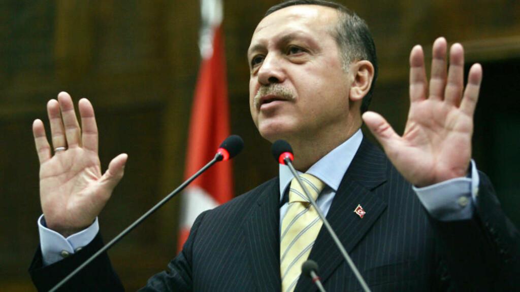 RASENDE: Recep Tayyip Erdogan  er nådeløs i sin kritikk av Israel. AFP / ADEM ALTAN