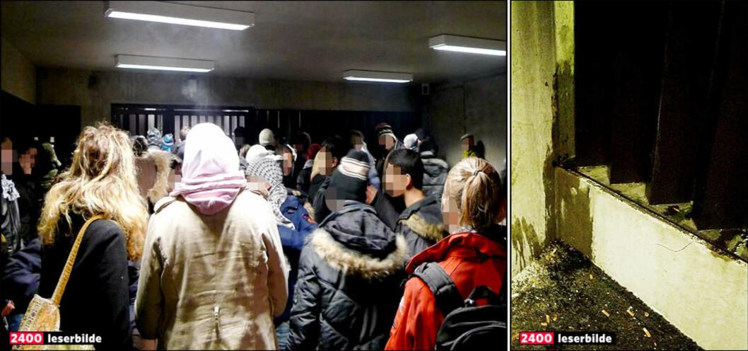 <strong>VENTET OVER FEM TIMER:</strong> Over 120 mennesker ble innbrakt og samlet i en garasje på politihuset på Grønland i Oslo etter demonstrasjonene lørdag kveld. Flere mener politet ikke var klare nok i beskjedene om å fjerne seg fra området ved opptøyene og derfor fikk med mange uskyldige. I tillegg forsvant mange av de mest standhaftige steinkasterne og rakettskyterne over taket på politibilene og ut i Slottsparkens mørke. Flere ble sett i sentrum mens de knuste butikkruter. Foto: Privat.