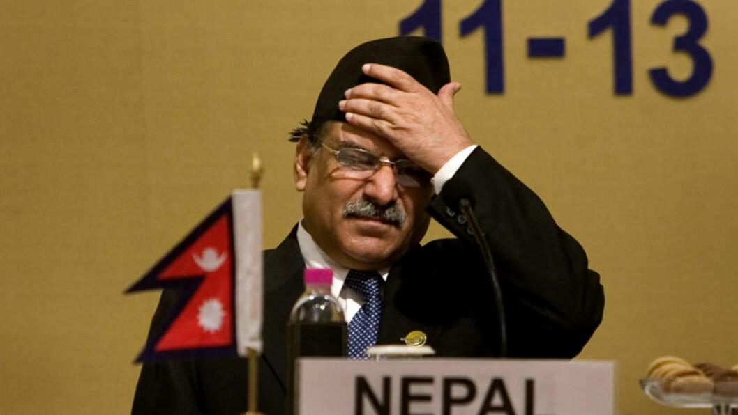 BLIR HJEMME: Utfordringene står i kø for verdens første folkevalgte maoist-statsminister Pushpa Kamal Dahal Prachanda Foto: AP/Manish Swarup/SCANPIX