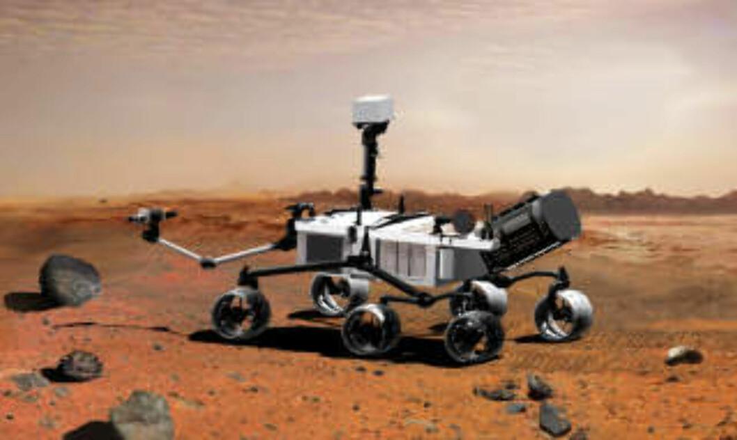 <strong>SKAL LETE ETTER LIV:</strong> Nasas neste Mars-fartøy, «Mars Science Laboratory», skal etter planen skytes opp i 2011. Med seg vil landingsfartøyet ha spesialutstyr for å undersøke opphavet til metanforekomsten på planeten. Illustrasjon: NASA/AFP/SCANPIX