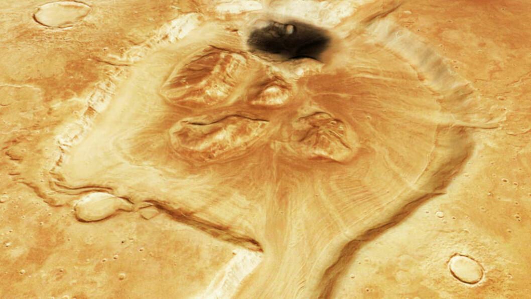 <strong>LIV UNDER OVERFLATEN?:</strong> Forskerne vet ikke hvorfor det ligger skyer av metangass over Mars' overflate. Den ene av to plausible forklaringer er at gassutslippene skyldes mikroorganismer som lever i underjordiske vannreservoarer. Her er den røde planetens overflate fotografert fra Den europeiske romfartsorganisasjonens fartøy «Mars Express». Det vi ser, er et krater i enden av dalen Mamers Valles. Foto: ESA/REUTERS/SCANPIX