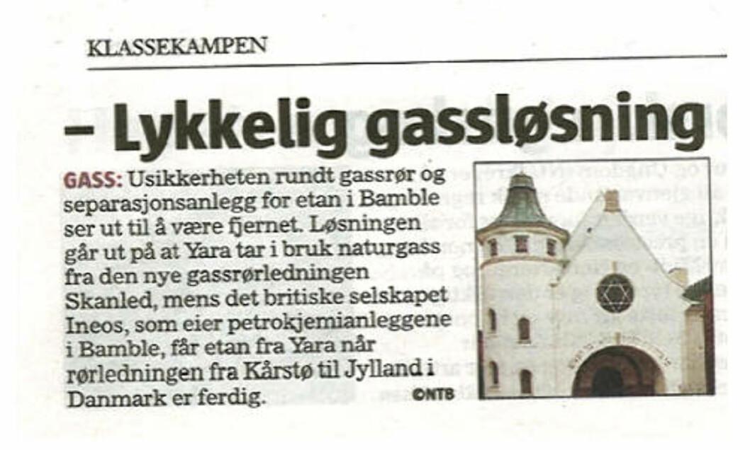 <strong>Faksimile:</strong> Klassekampen 15. januar.