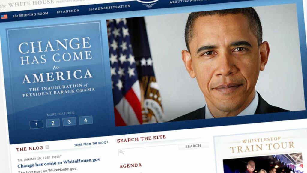 ANSIKTSLØFTNING: Barack Obama startet presidentperioden sin med å totalrenovere hjemmesiden til Det hvite hus. Faksimile: Whitehouse.gov