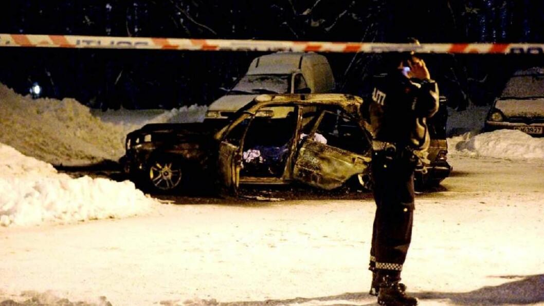 <strong>DREPT:</strong> Mohammed Javed (28) ble funnet død i denne bilen. Hans 29 år gamle kamerat overlevde og klarte å flykte. Foto: JOHN T. PEDERSEN