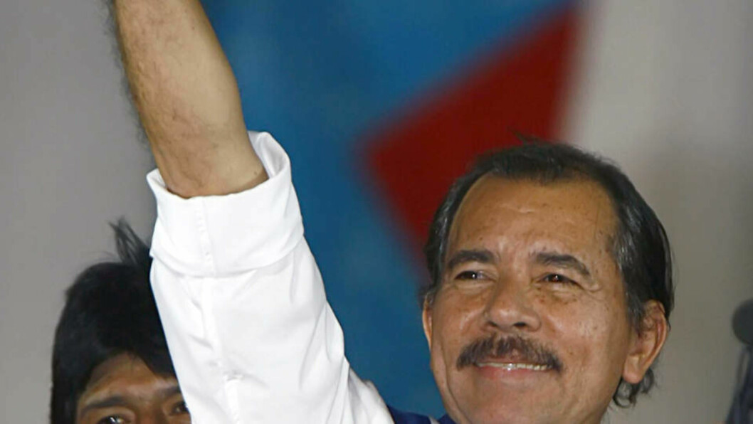 Nicaragua's President Daniel Ortega raises his hand during a speech at a square in Managua after he was sworn in this January 10, 2007 file photo. Nearing the second anniversary of his return to power in Nicaragua, the leftist former guerrilla is rained by accusations of authoritarianism and electoral fraud, while being engaged in a modern version of the Cold War.      REUTERS/Oswaldo Rivas/Files  (NICARAGUA)