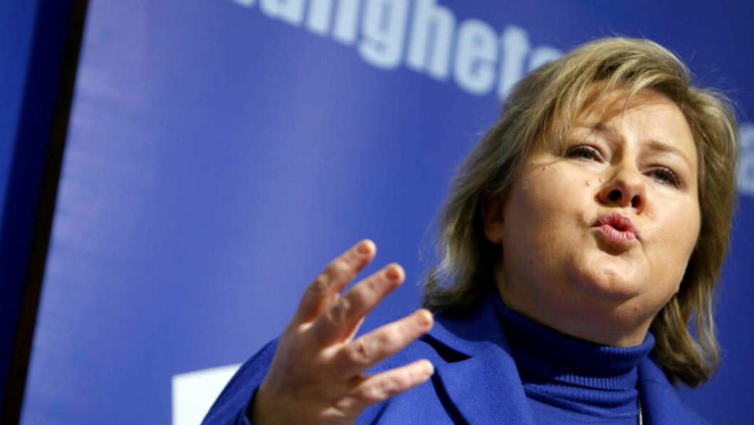 <strong>SLAKTER STORBERGET:</strong> Erna Solberg. Foto: Erlend Aas/SCANPIX