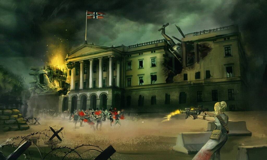 I BRANN: Det vil gå hardt utover både Slottet og Oslo i den nye actiongrøsseren «Infisert». TEGNING: Fredrik Dahl Tyskerud