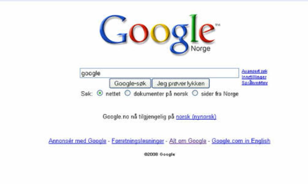 VI GOOGLER GOOGLE: Nest mest populære søkeord på Google blant nordmenn i 2008, ser du i søkevinduet over. Forstå det den som kan.