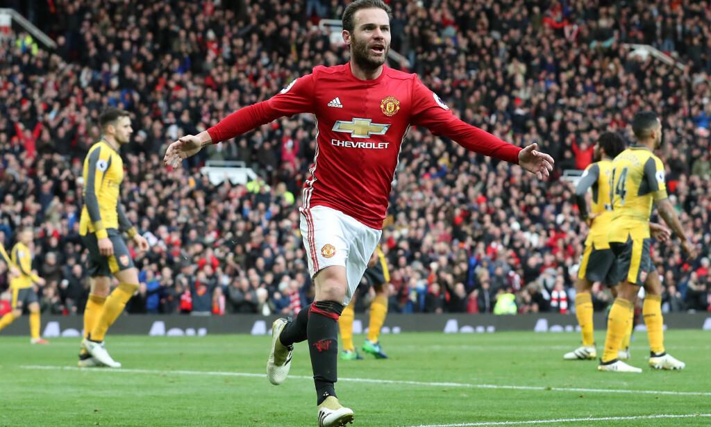 1-0: Manchester Uniteds Juan Mata satte inn 1-0. Foto: NTB Scanpix