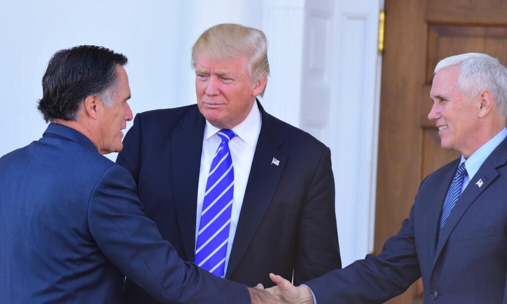 TRUMP-KRITIKER: Mitt Romney var i valgkampen er krass kritiker av Donald Trump. Nå er de to på talefot igjen. Foto: Andy Katz / Zuma Press / NTB scanpix