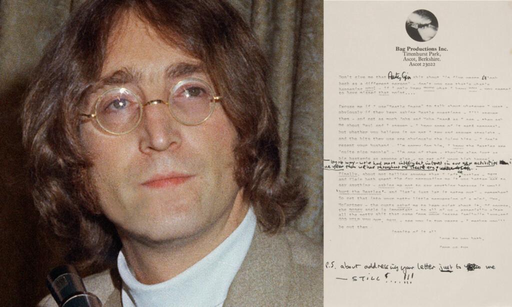 SINT: Linda McCartney gjorde John Lennon sint, noe som resulterte i dette brevet som nå er solgt på auksjon. Foto: AP / NTB scanpix