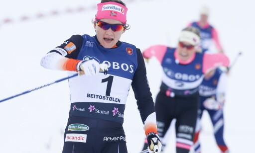 RASKEST IGJEN: Maiken Caspersen Falla vant oppskriftsmessig sprinten på Beitostølen. Foto: Terje Pedersen / NTB scanpix