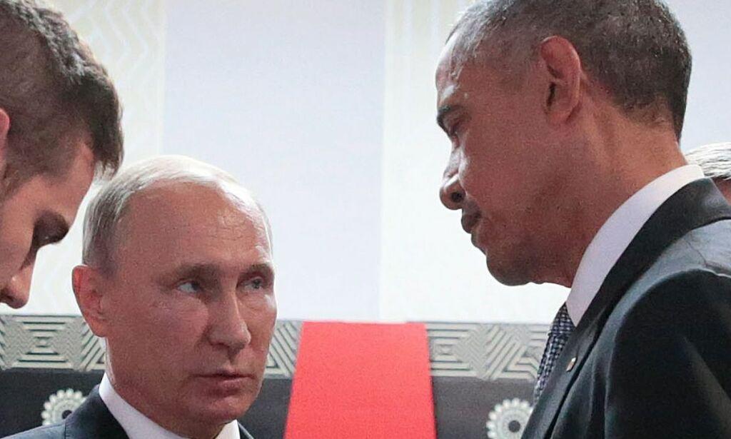 image: Kort møte mellom Putin og Obama
