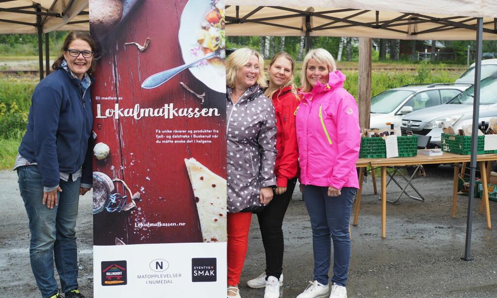 STERKE SAMMEN: Disse fire representerer Lokalmatkassen. Fra venstre Liv M. Berven ( Matopplevelser i Numedal), Ann-Irene Haugen (Hallingkost),  Anette Hassel Solbakken (Eventyrsmak) og Hilde Skotland Mortvedt (SeeNew). Matkassen er del av en større matsatsing lokalt og har blant annet fått støtte fra  Innovasjon Norge. Foto: Nevada Berg