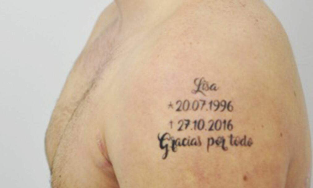 «TAKK FOR ALT»: Denne tatoveringen kan bli helt sentral i etterforskningen av drapet på 20 år gamle Lisa fra Tyskland. Foto: Policia Nacional