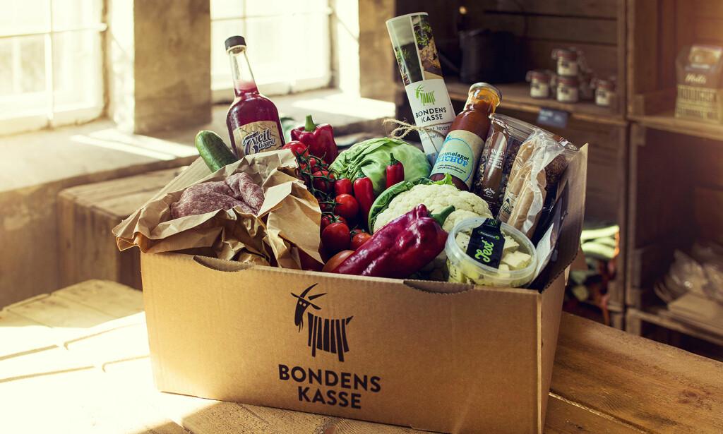 MATKASSE PÅ VESTLANDET: Slik kan en matkasse fra Bondens kasse se ut. Du får den i Haugesund og Stavanger-området, etter planen snart også i Bergen. Foto: Haakon Nordvik