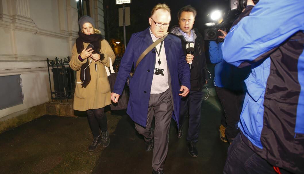 FORLOT MØTET: Per Sandberg forlot i 18-tida mandag kveld krisemøtet mellom de to regjeringspartiene hos statsminister Erna Solberg. Foto: Heiko Junge / NTB Scanpix