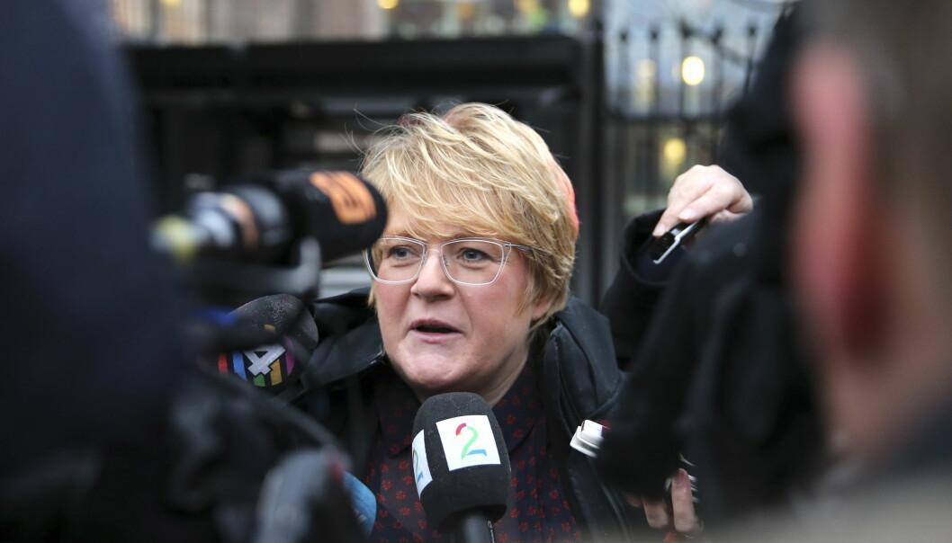 <strong>FORTSATT HÅP:</strong> Venstres leder Trine Skei Grande snakket med pressen etter møte med statsministeren på  SMK tirsdag morgen. Foto: Vidar Ruud / NTB scanpix