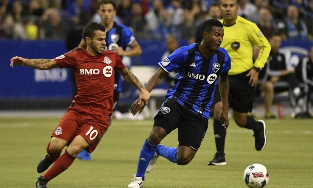BLEMME: Montreals Patrice Bernier (t.h.) og Torontos Sebastian Giovinco i aksjon i semifinalen i MLS. Foto: Eric Bolte / USA TODAY Sports / Reuters / NTB scanpix