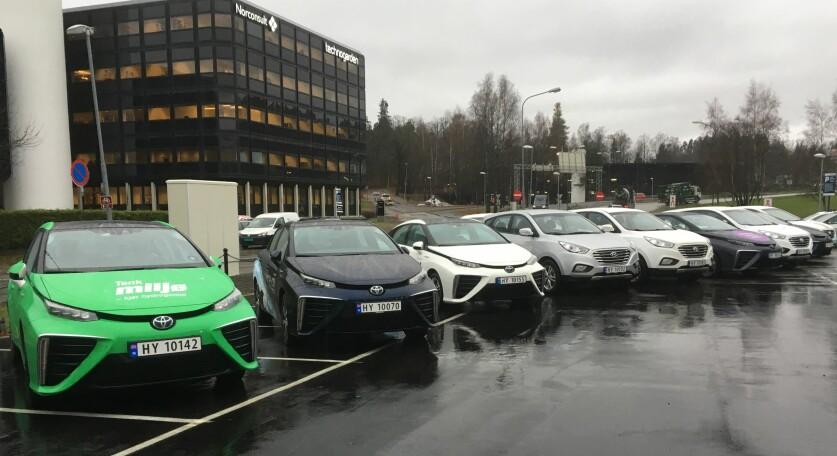 <strong>BALLER PÅ SEG:</strong> Alle bilene på denne rekka ved den nye hydrogenstasjonen i Sandvika er hydrogenbiler. De er i realiteten elektriske biler med medbragt hydrogen som driver brenselceller, i stedet for store batteripakker. Det er Toyotas sedan Mirai og Hyundais SUV ix35 som per i dag er hydrogenbilene som tilbys her i landet, men Honda (Clarity) og Mercedes-Benz (GLC), vil etterhvert komme på banen også - i første omgang. Foto: Knut Moberg
