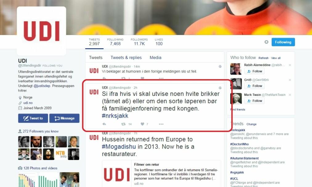 Skjermdump: UDIs Twitterkonto