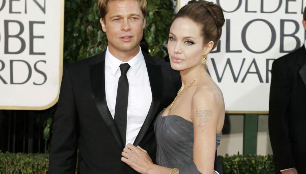 SJOKKBRUDD: Nyheten om at Brad Pitt og Angelina Jolie skulle skilles kom som et sjokk på verden. De var et av Hollywoods mest populære ektepar. Foto: Scanpix
