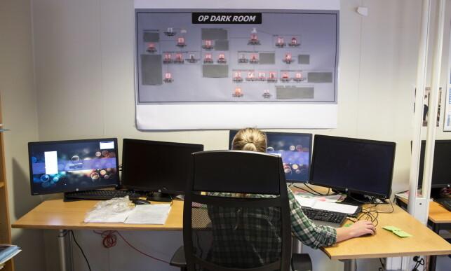 HER AVSLØRTE DE PEDOFILE: 25 etterforskere i Vest politidistrikt har jobbet siden nyttår med Operasjon «Dark Room» i Bergen. De har sendt fra seg et titall saker til andre politidistrikter, som igjen har avdekket nye saker og nye offer. Foto: Simen Sundfjord Otterlei / NRK