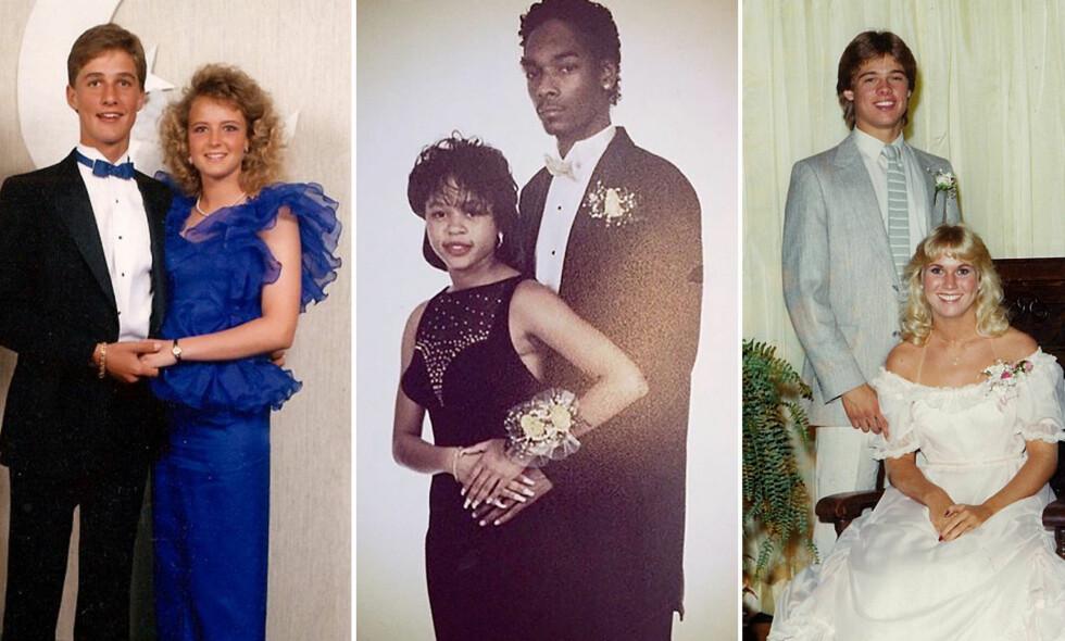 UNGE LOVENDE: Matthew McConaughey (t.v), Snoop Dogg og Brad Pitt med sine «prom dates». Foto: Splash News / Instagram