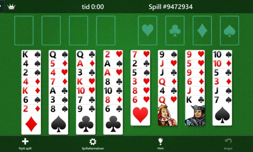 Freecell på iPhone. (Skjermdump)