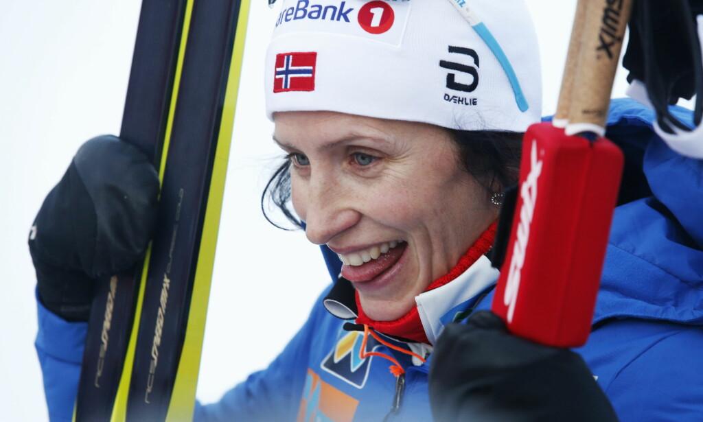 LYKKELIG TILBAKE: Langrenn blir som normalt med Marit Bjørgen i teten. FOTO: Terje Bendiksby / NTB scanpix.