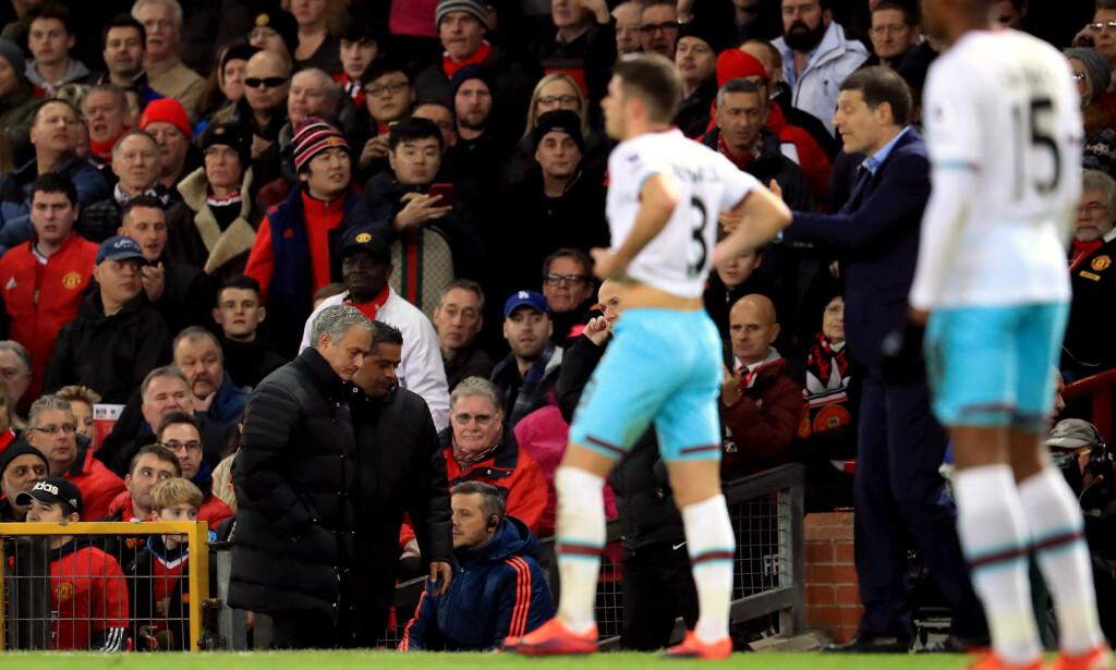 SENDT PÅ TRIBUNEN: Manchester United-manager Jose Mourinho. Foto: NTB Scanpix