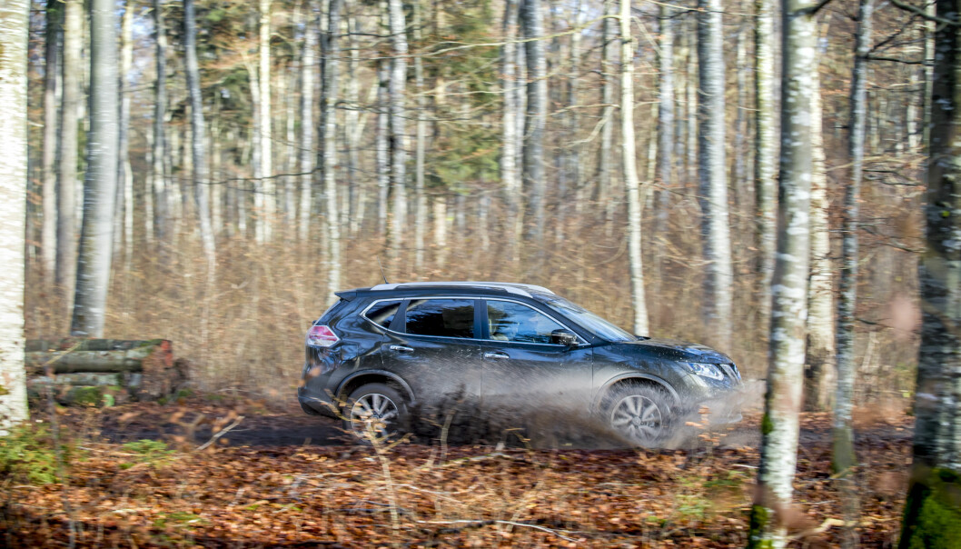 <strong>SKOGENS KONGE:</strong> Jo da, en bil som X-Trail kan være i stand til mye. Foto: Produsenten