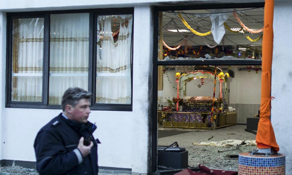 Bombeangrep: I dette indiske tempelet i den tyske byen Essen plantet de to unge IS-sympatisørene en bombe. Ingen døde i angrepet, men tre ble skadet. Foto: Marcel Kusch / DPA / NTB Scanpix