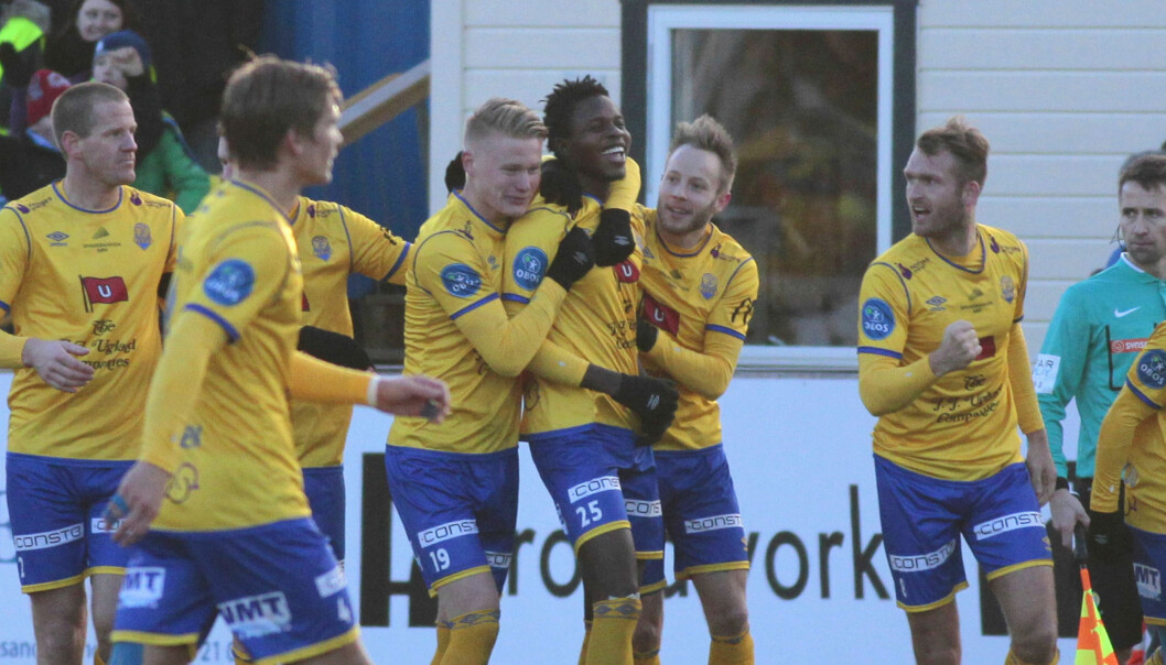 VANT: Michael Ogungbaro scoret kampens eneste mål da Jerv vant 1-0 mot Stabæk på Levermyr stadion i Grimstad. Foto: Tor Erik Schrøder / NTB scanpix