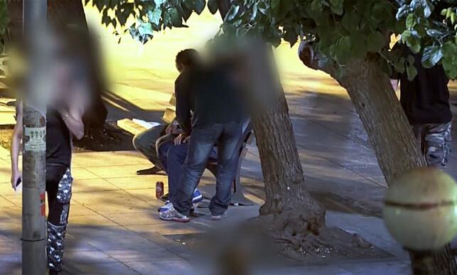Park: I en park utenfor kjernen av Aten selger unge flyktninger sex for å overleve. Foto: CNN.