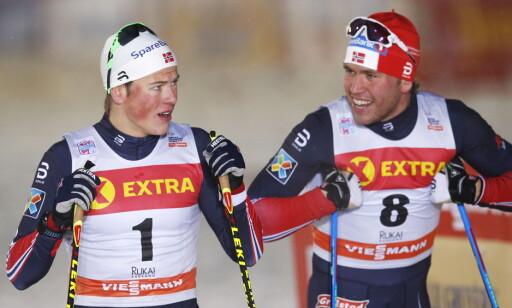 IMPONERTE IGJEN: Johannes Høsflot Klæbo og Pål Golberg har vært Norges to beste sprintere denne sesongen og var de to beste også i dagens sprintprolog. Foto: Terje Bendiksby / NTB scanpix