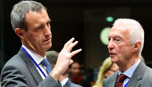 Samarbeid: Europol-direktør, Rob Wainwright og Anti-terror koordinator, Gilles de Kerchove, tror at internasjonalt samarbeid er nøkkelen for å bekjempe IS. Foto: Emmanuel Dunand / AFP / NTB Scanpix