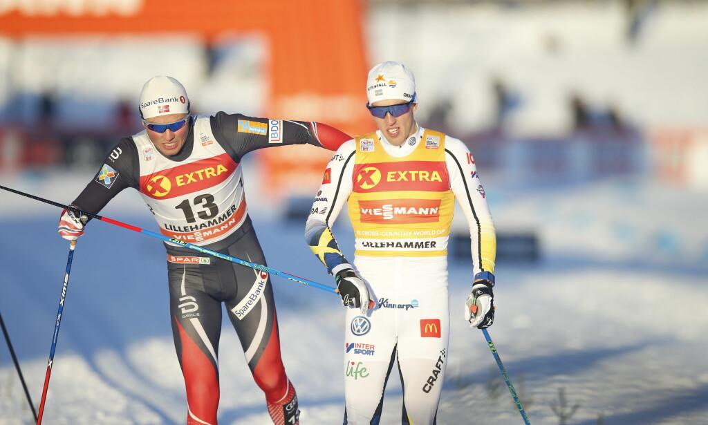 VISTE STYRKE: Calle Halfvarsson er i storform og vant sprinten på Lillehammer. Foto: Terje Pedersen / NTB scanpix