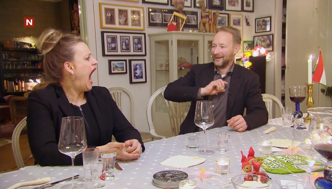 <strong>GAPER OPP:</strong> Henriette Steenstrup sier seg villig til å bli med på Kjetil André Aamodts stunt, men det hele får et uventet utfall. Foto: TV Norge / Discovery Networks Norway
