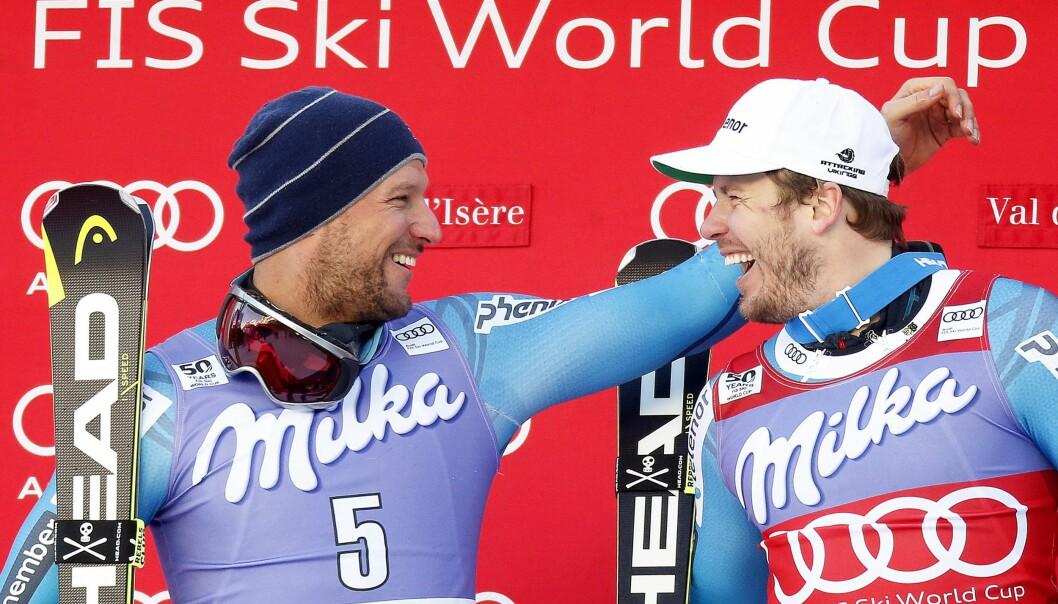 BEST IGJEN: Kjetil Jansrud og Aksel Lund Svindal fulgte opp gårsdagens bragd. Foto: EPA/GUILLAUME HORCAJUELO