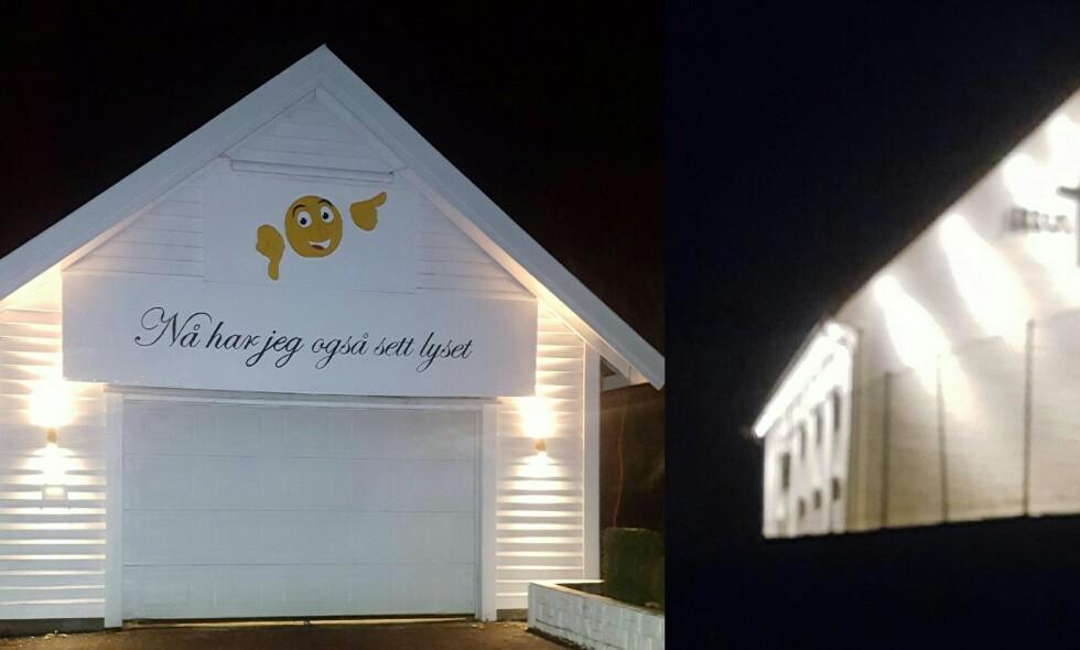 NYTT PEK: Richard Solli har for tredje gang hengt opp et skilt på garasjen sin, som ligger ved siden av bedehuset i Lindås. Denne gangen er teksten rettet mot bedehusets belysning, forteller Solli. Foto: Richard Solli