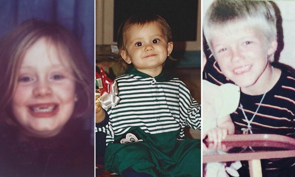 STOR FORANDRING: Adele, Ariana Grande og David Beckham har alle delt bilder fra sine gamle fotoalbum i sosiale medier. Foto. Twitter / NTB scanpix