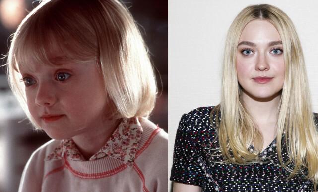 BARNESTJERNE: Det er nok mange som kjenner igjen skuespiller Dakota Fanning, til venstre avbildet i 2001. Bildet er fra filmen «I Am Sam», da hun var kun syv år gammel. Foto: NTB scanpix