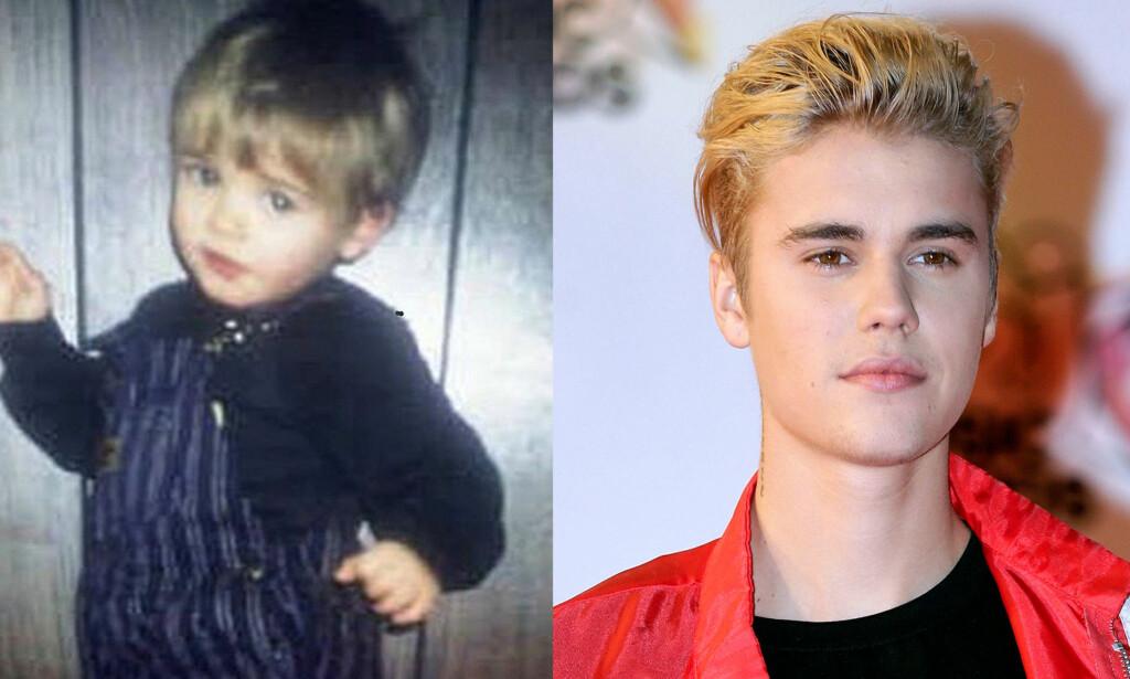 SJARMTROLL: Selv om popstjernen Justin Bieber ble kjent i svært ung alder, er det vanskelig å kjenne han igjen på barnebilder av ham. Foto: NTB scanpix