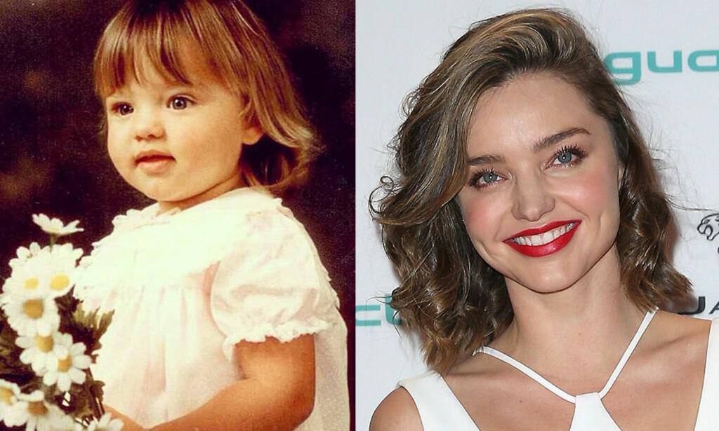 KARAKTERISTISK UTSEENDE: Det er ikke vanskelig å se at bildet til venstre er av supermodell Miranda Kerr. Foto: Twitter / NTB scanpix